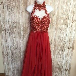 Angela & Alison Red Prom Dress Size 8